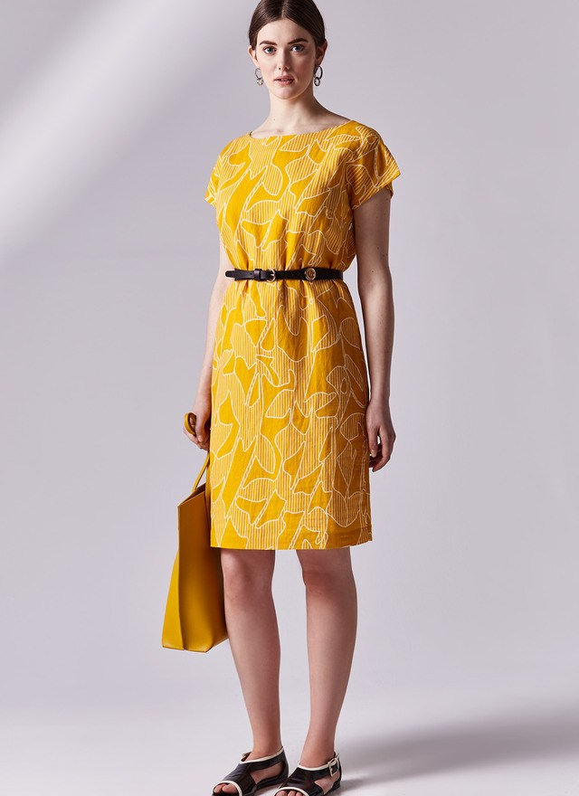 vestido amarillo adolfo dominguez
