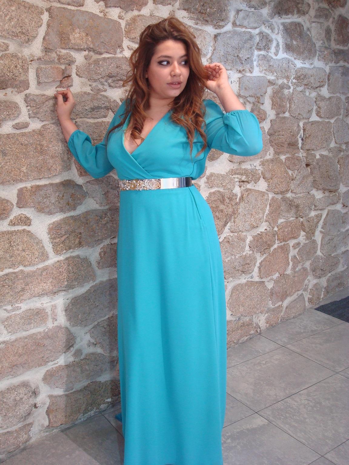 vestido azul fiesta chocolate