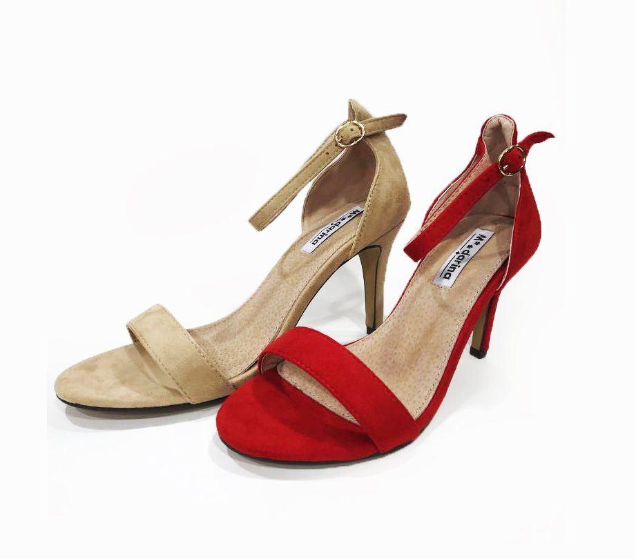 sandalia mdarina tacon en rojo y beis