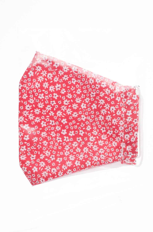 Mascarilla infantil higiénica reutilizable Roja flores
