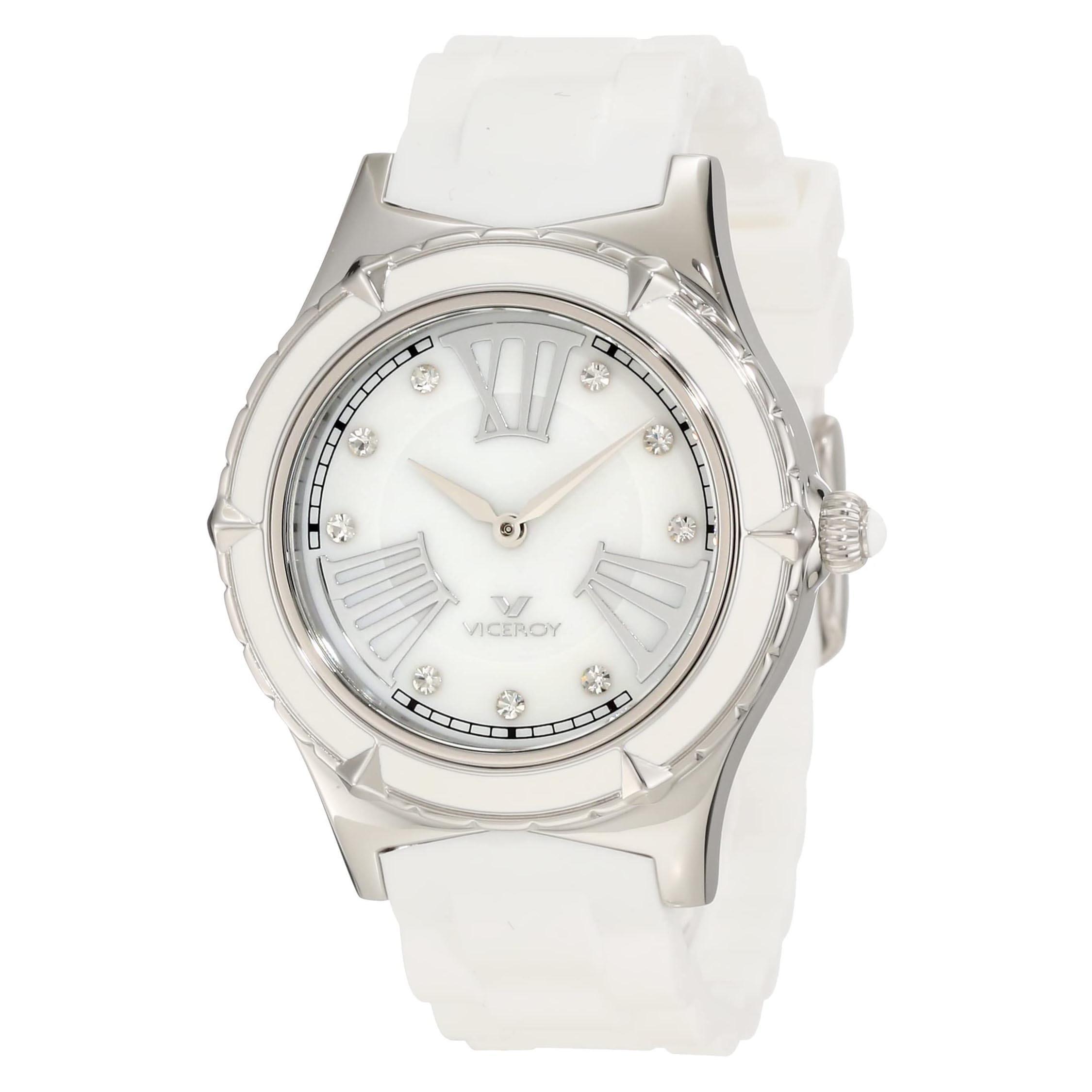Reloj Viceroy señora acero bisel esmalte blanco