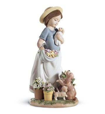 Lladró niña con flores y cachorros 06907