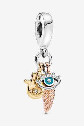 Pandora Charm plata colgante Hamsa,ojo que todo lo ve y pluma