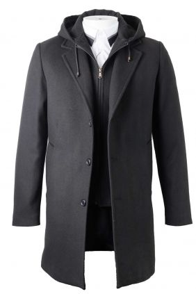 Abrigo con chalequin desmontable y capucha