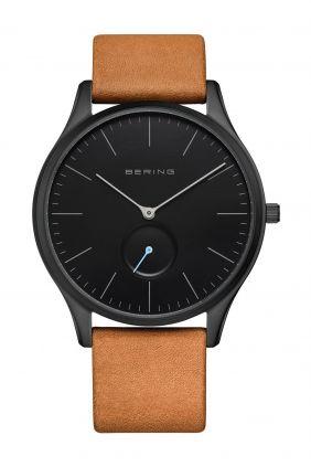 Bering Reloj de hombre con esfera negra y correa de cuero marrón