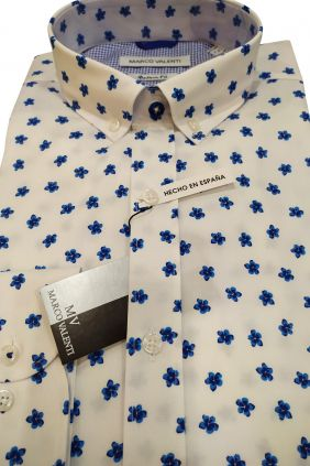 Camisa casual modern fit flores azules