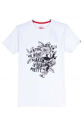 comprar online Camiseta flores en relieve en blanco para hombre
