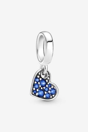 Charm Colgante Corazón Inclinado de Pavé Azul Estelar Pandora