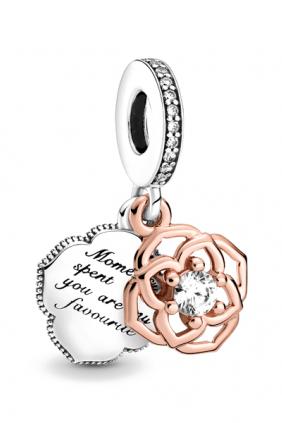Charm Colgante Rosa en Dos Tonos Pandora