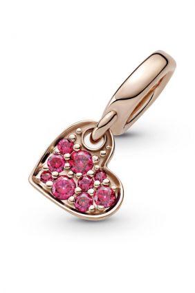 Charm Colgante Pandora Rose Corazón Inclinado en Pavé Rojo