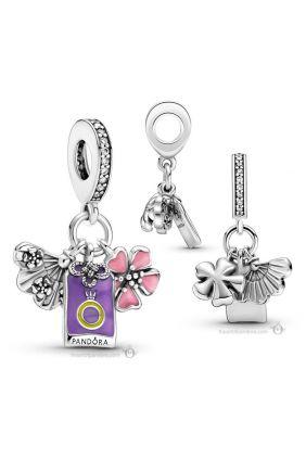 Charm colgante Pandora Cerezo, Amuleto y Abanico Japoneses