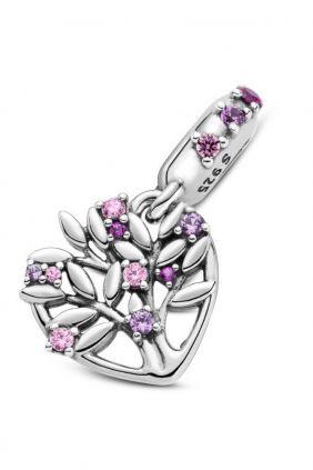 Charm colgante en plata de ley Corazón Árbol de la Vida Rosa