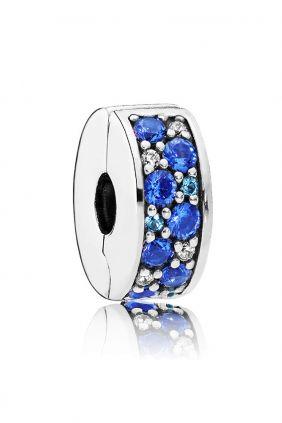 Pandora Clip en plata de ley Elegancia Brillante Mosaico Azul