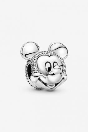 Pandora Clip en plata de ley Retrato Brillante de Mickey