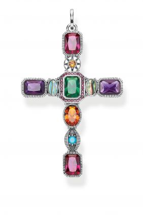Thomas Sabo Colgante cruz piedras colores