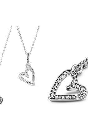Pandora Collar en plata de ley Corazón Brillante