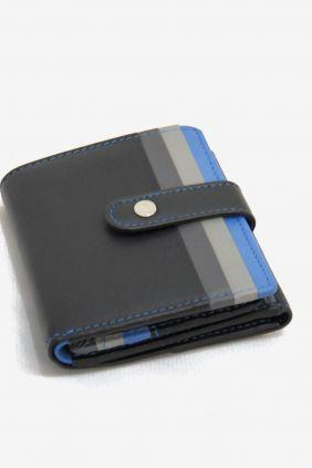 Comprar Billetera piel Adapell Viena Negra gris y azul
