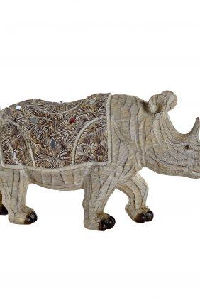 Figura resina rinoceronte blanco