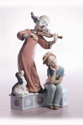 Lladró payaso violinista con niña