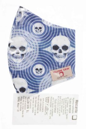 Comprar Mascarilla adulto higiénica reutilizable Calaveras Azul
