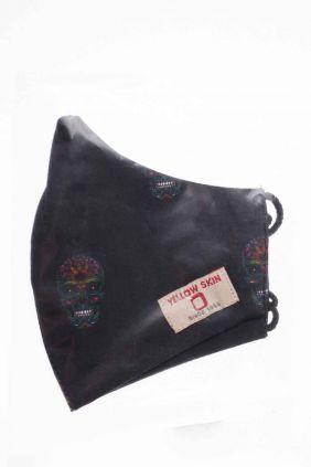 Comprar Mascarilla infantil higiénica reutilizable negra calaveras de color