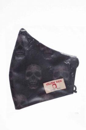 Comprar Mascarilla infantil higiénica reutilizable negra calaveras de puntos