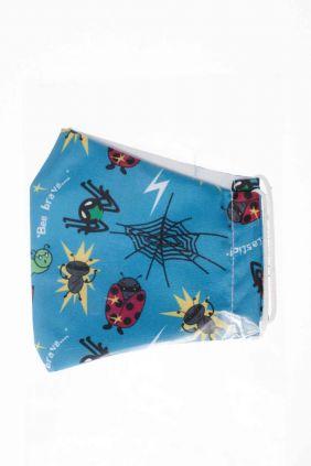 Mascarilla niños higiénica reutilizable azul insectos