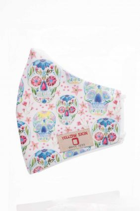 Comprar Mascarilla infantil higiénica reutilizable blanca con calaveras de flores