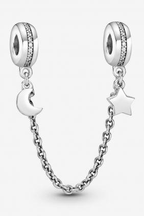 Pandora Cadena de Seguridad Luna Y Estrella circonita