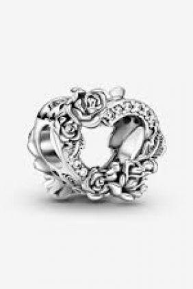 Pandora Charm en plata de ley Corazón Abierto y Flores Rosas