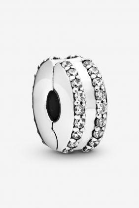 Pandora Charm plata Clip circonitas