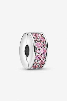Pandora Charm plata Clip estrecho circonitas rosa