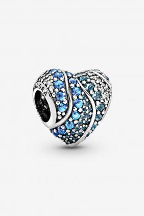 Pandora Charm plata Corazon circonitas azules