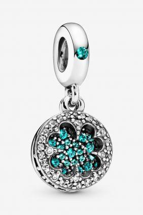 Pandora Charm plata colgante Trebol circonita verde
