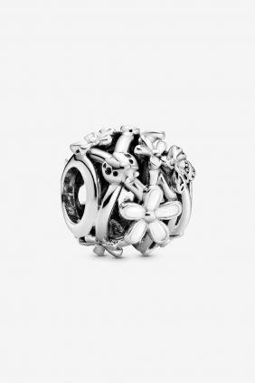 Pandora Charm plata bola flores emalte blanco