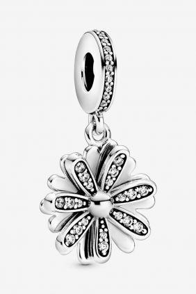 Pandora Charm plata colgante flor circonitas
