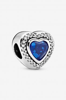 Pandora Charm plata corazon circonita azul