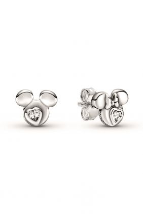 Pandora Pendientes de botón plata Siluetas Mickey Minnie Mouse