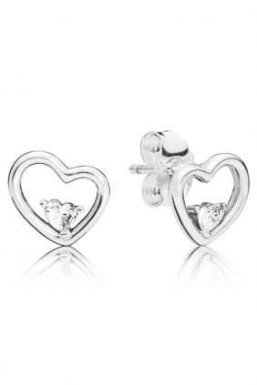 Pandora Pendientes en plata de primera ley Corazones de Amor Asimétricos