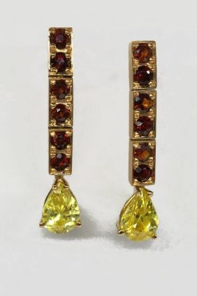 Comprar Pendientes oro con peridotos y granates 1861ERMYA/33