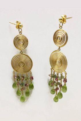 Comprar online Pendientes oro étnicos Piedras Naturales 182-86X