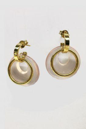 Comprar online Pendientes oro y círculo cuarzo rosa POPO053/93