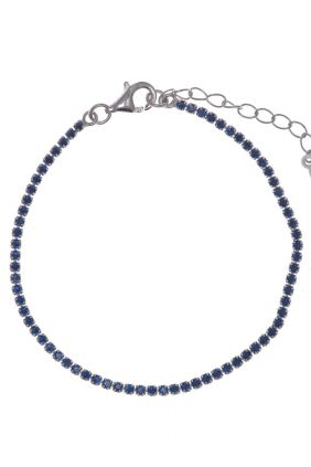 Pulsera Salvatore plata rodio Riviere circonitas azul 15+3cm