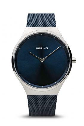 Reloj Bering Classic esfera azul malla milanesa azul