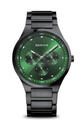 Reloj Bering Classic negro cepillado esfera Verde