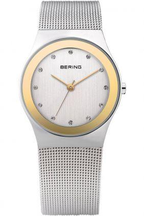 Reloj Bering clásico mujer Swarovski Elements bisel dorado
