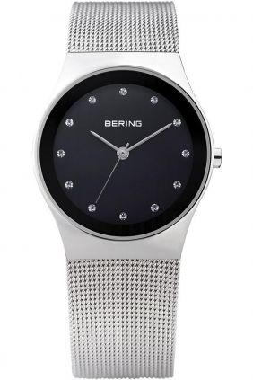 Bering Reloj clásico mujer malla y Swarovski Elements esfera negra