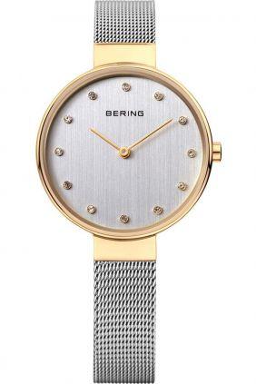 Reloj Bering mujer clásico malla fina bicolor