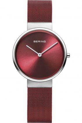 Reloj Bering mujer rojo con correa de malla milanesa