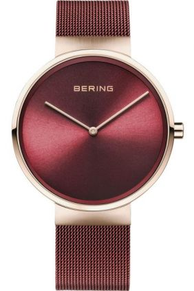 Reloj Bering rojo con correa malla milanesa